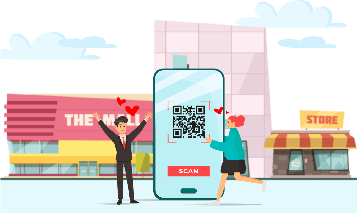 Illustration showing marketers love QR code for both small and big markets