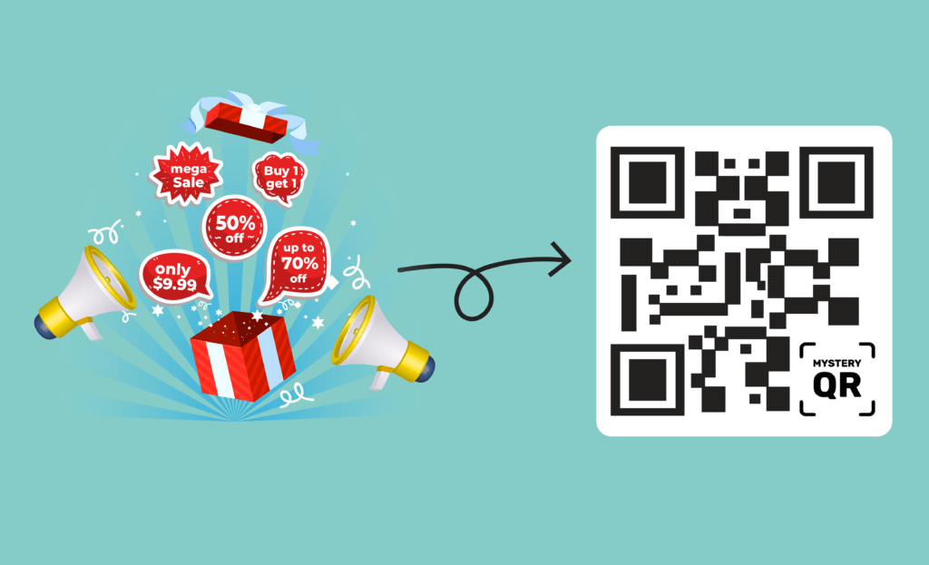 Illustration showing promotion campaigns and reward programs converted to a single QR code by MysteryQR